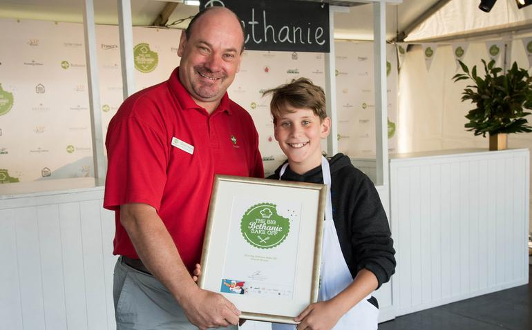 Bethanie CEO Chris How, 2016 Big Bethanie Bake Off champion Joshua Wenz