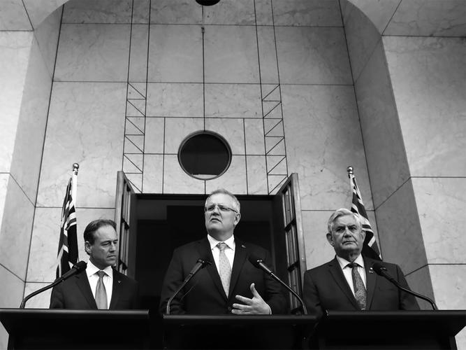 Minister for Health Greg Hunt, Prime Minister Scott Morrison and Minister for Senior Australians and Aged Care Ken Wyatt announcing the Royal Commission into Aged Care (Source: Twitter)