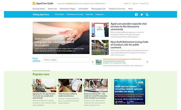 Promotion in Australia's leading source of aged care news, online, on social media and via our weekly eNewsletter