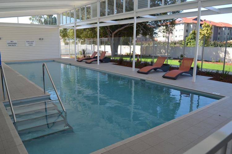 The clubhouse features a covered 14 metre pool with sun lounges