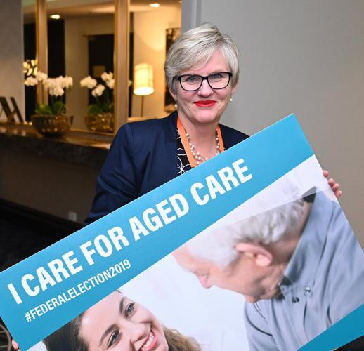 LASA Queensland State Manager ⁦Kerri Lanchester⁩ at the 'I Care for Aged Care' campaign launch. (Source: LASA)