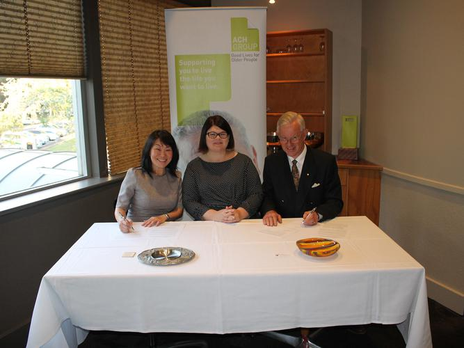 ACH Group signing the MOU with Malaysian based provider Aged Care Group (Source: ACH Group)