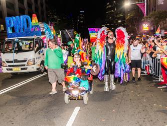 The PWDA float at the 2018 Mardi Gras Parade [Source: PWDA]